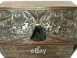 Antique English Oak Slant Front Secretary Desk 18th C Georgian Renaissance