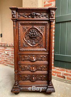 Antique French Abattant Secretary Carved Desk Cabinet Renaissance Louis XIII