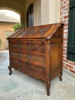 Antique French Carved Oak Secretary Desk Bureau Drop Front Louis XV style c1920