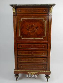Antique French Mahogany Inlaid Marble top Abattant Secretary. Desk