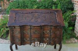 Antique French Oak Fall Front Secretary Desk Bureau Bookcase Louis XV c. 1900