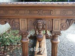 Antique French Renaissance Carved Writing Desk Table with Cherubs