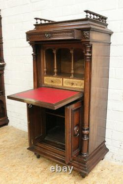 Antique French Renaissance Henry II Desk Drop Front Secretary Chest Pedestal