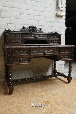 Antique French Renaissance Hunt Carved Writing Desk