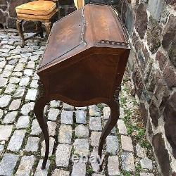 Antique French secretary, Fruitwood Marquetry ladies desk, Louis XV Floral Inlay