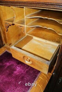 Antique Golden Oak Era Side by Side Bookcase With a Drop Front Desk Secretary