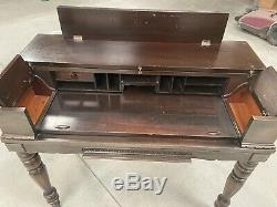 Antique H. E. Shaw Early 1900S Mahogany Spinet Secretary Desk. 40w X 36h X 19