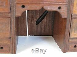 Antique Hand Made Miniature Roll Top Desk with Secretary Top and Wood Books