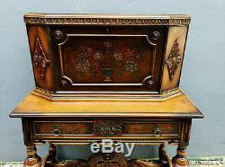 Antique Jacobean Revival Writing Desk Hand Painted Walnut Secretary w Bench Seat