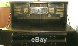 Antique Korean Desksecretarycabinetdark Wood Brass Hardwareheavy Desk