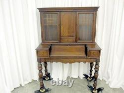 Antique Ladies Slant Top Writing Desk & Bookcase w Glass Doors Traditional Style