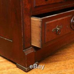 Antique Late 19th Century Burlwood Accented Walnut Drop Front Secretary Desk