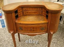 Antique Louis XV Revival Inlaid Oval Wood Desk Secretary with Leather Trim