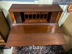 Antique Maddox Hepplewhite Genuine Mahogany Tambour Fold Out Desk Secretary USA