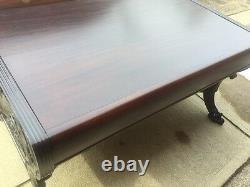 Antique Mahogany Carved Northwind Regency Revival Claw foot Desk Horner