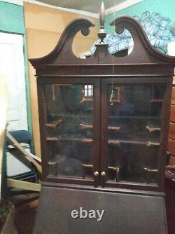 Antique Mahogany Desk Secretary Glass Cupboard Doors