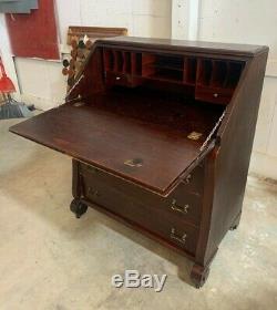 Antique Mahogany Empire Style Drop Front Desk Secretary