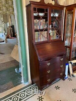 Antique Mahogany Secretary Desk with Display Cabinet Top