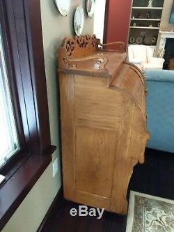 Antique Oak & Burl Secretary Half Cylinder Barrel Roll Top Desk