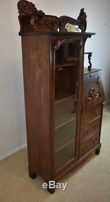 Antique Oak Drop Front Secretary/Desk Beveled Mirror Applied Carved Designs
