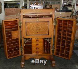 Antique Oak Extra Grade Wooton Patent Secretary Rockefeller Style Desk #7706