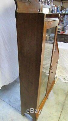 Antique Oak Secretary Drop Down Desk Glass Bookcase/Curio Cabinet