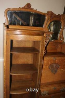 Antique Oak Side By Side Secretary Bookcase Curio Combination Cabinet