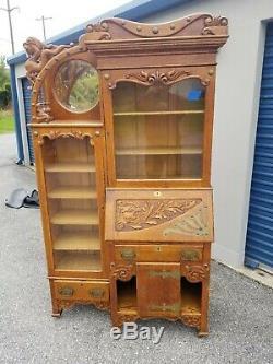 Antique Oak Side By Side Secretary Desk / Brass Accents (54-19)