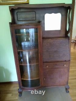 Antique Oak Side by Side Secretary Desk, Bookcase Curved Glass
