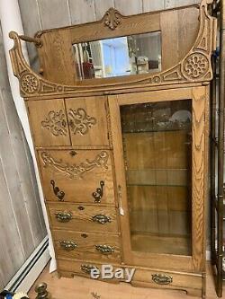 Antique Oak Side by Side Secretary Desk and Bookcase Cabinet