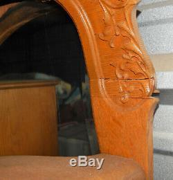 Antique Oak Side by Side Secretary WithDrop Front Desk Bookcase Display case 1930s