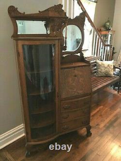 Antique Oak Side x Side Secretary Desk Bookcase with Beveled Mirrors