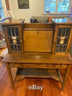 Antique Oak Slant Drop Front Secretary Postal Desk. 38x18x46. Beautiful peace