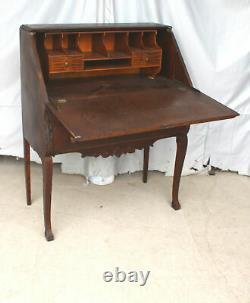 Antique Oak Slant Front Drop Secretary Desk only 32 wide