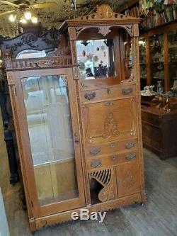 Antique Oak Tall Secretary Desk 1900, S