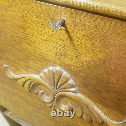 Antique Oak Wood Larkin Secretary Desk with Key