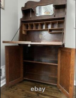Antique Oak Wood Slant Drop Front Secretary Desk