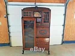 Antique Orig Finish Tiger Oak Side by Side Secretary Desk Curio Bookcase c1900