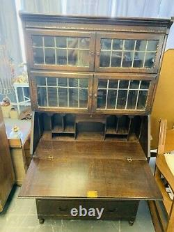 Antique Secretary 4 Drawer Desk / Hutch with 2 Leaded Glass Stackable Bookcases