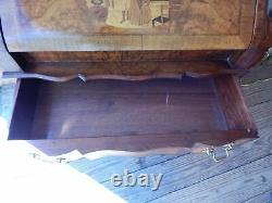 Antique Secretary Desk Burl Inlay 38 Tall