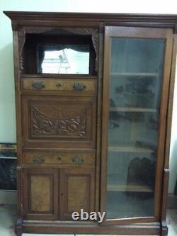 Antique Secretary Desk with Bookcase Walnut 19th century