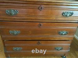 Antique Secretary Roll Top Desk withBookcase 1880's-90s Rockford Union Furniture