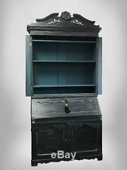 Antique Secretary Slant Front Desk with Bookcase Top