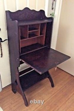 Antique Secretary's Desk Oak Foldable Legs & Bottom Shelf 1800s