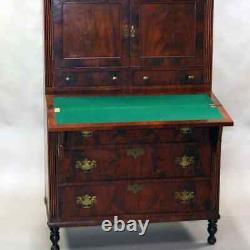 Antique Sheraton Flame Mahogany Tambour Secretary Desk, circa 1830