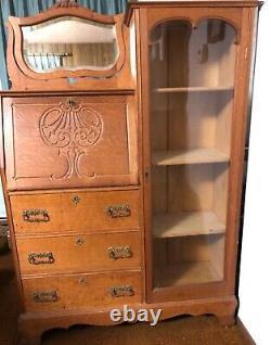 Antique Solid Golden Oak Larkin Victorian Secretary Desk