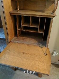 Antique Solid Oak Wood Secretary Desk Bookcase + Mirror Drop Front