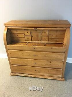 Antique Solid Pine Roll Top Wood Desk Secretary Vintage European Large Rustic