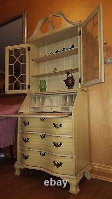 Antique Solid Wood With Glass Secretary/desk/hutch