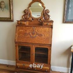 Antique Tiger Oak Desk Secretary Bookcase Carved Griffins Lions Paws
